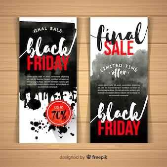 Zwarte vrijdag verkoop banner sjablonen met aquarel vlekken