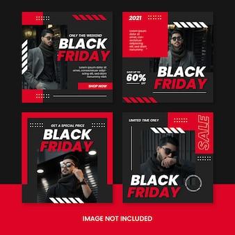 Zwarte vrijdag verkoop banner sociale media instagram postsjabloon