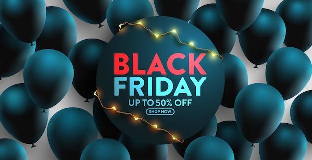 Zwarte vrijdag verkoop banner voor detailhandel, winkelen of promotie met veel zwarte ballonnen. ontwerp van de banner van zwarte vrijdag voor sociale media en website. grote verkoop speciale aanbieding van het jaar