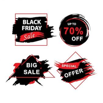 Zwarte vrijdag verkoop banners instellen met grunge