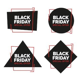 Zwarte Vrijdag Verkoop banners set. Vector illustratie.
