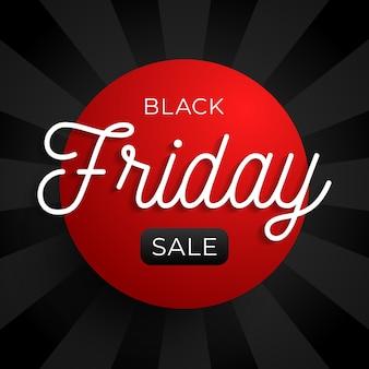 Zwarte vrijdag verkoop cirkel banner op rode en zwarte achtergrond