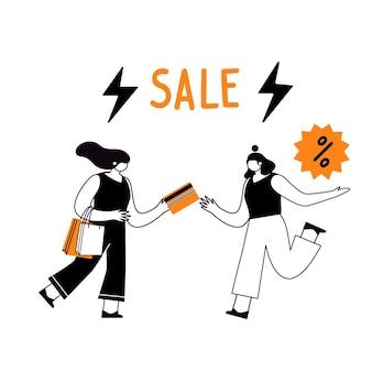 Zwarte vrijdag. verkoop en kortingen in winkels. lineaire karakters met papieren zakken, met boodschappen.
