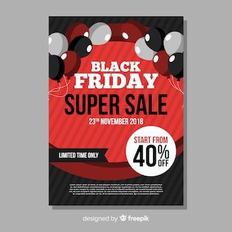 Zwarte vrijdag verkoop flyer-sjabloon met ballonnen