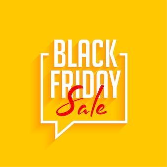 Zwarte vrijdag verkoop gele achtergrond met tekstballon