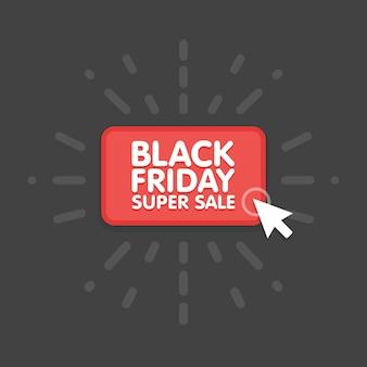 Zwarte vrijdag verkoop handel vector illustratie ontwerp. muisklik knop.