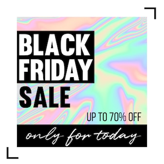 Zwarte vrijdag verkoop holografische achtergrond