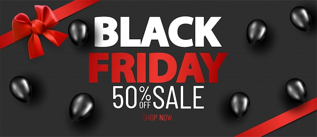 Zwarte vrijdag verkoop lay-out achtergrond met rode satijnen lint en boog en ballonnen