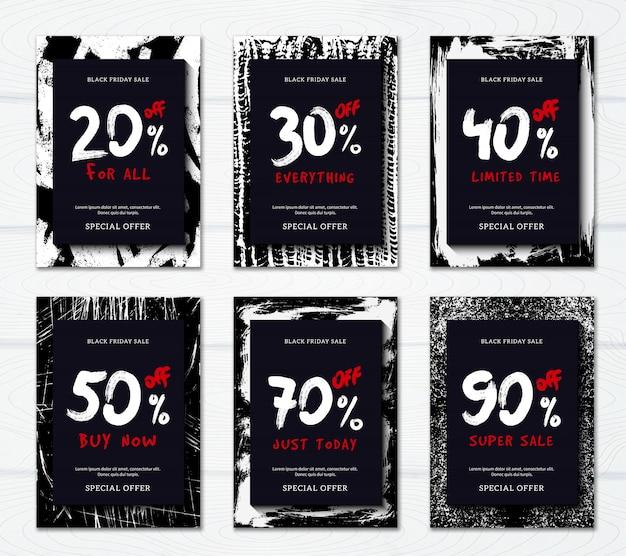 Zwarte vrijdag verkoop met grote kortingen verticale promotionele banner of poster set