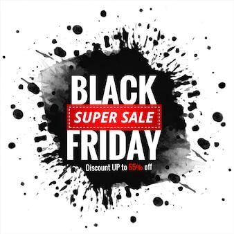 Zwarte vrijdag verkoop met inkt splash banner