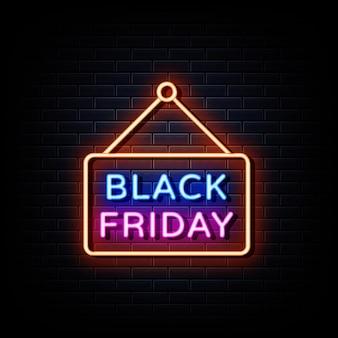 Zwarte vrijdag verkoop neonreclames. ontwerpsjabloon neon teken