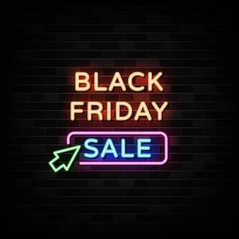 Zwarte vrijdag verkoop neonreclames ontwerpsjabloon neonreclame