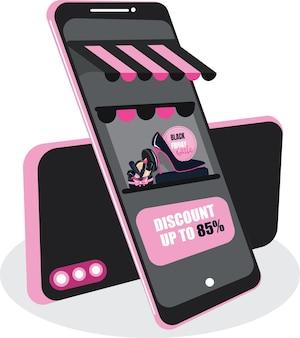 Zwarte vrijdag verkoop online winkelen banner, mobiele app sjablonen, concept vector illustratie plat ontwerp