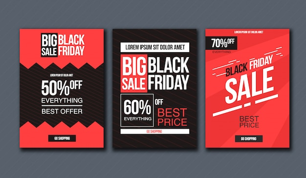 Zwarte vrijdag verkoop ontwerpsjabloon. conceptuele lay-out voor banner en print.