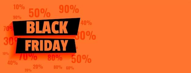 Zwarte vrijdag verkoop oranje banner met kortingsaanbiedingen