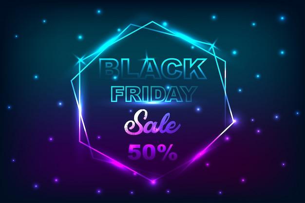 Zwarte vrijdag verkoop poster met neon banner achtergrond.