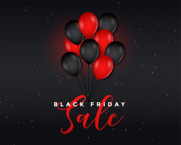 Zwarte vrijdag verkoop poster met vliegende ballonnen