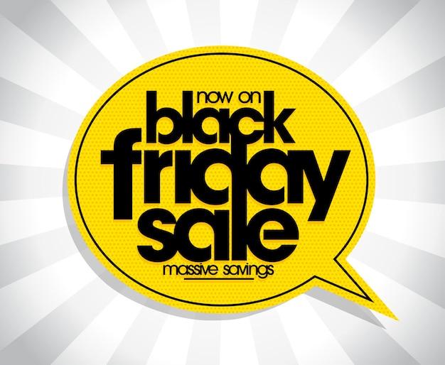 Zwarte vrijdag verkoop poster ontwerpconcept met tekstballon vector
