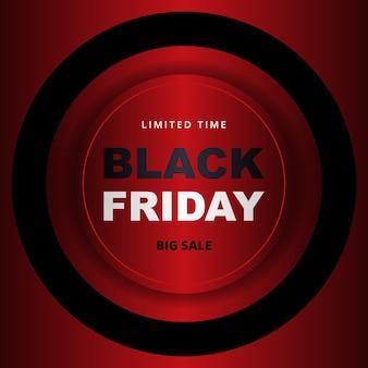Zwarte vrijdag verkoop promotie banner. zwarte vrijdag metallic rode verkoop sjabloon voor spandoek.