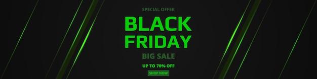 Zwarte vrijdag verkoop promotie brede sjabloon voor spandoek met groene neon
