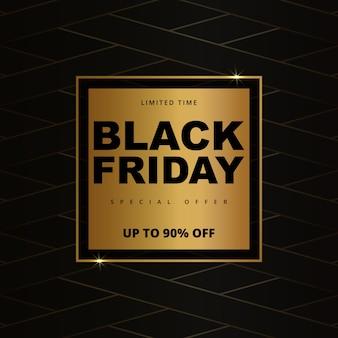 Zwarte vrijdag verkoop promotie gouden sjabloon voor spandoek. zwarte vrijdag luxe donkere gouden achtergrond.