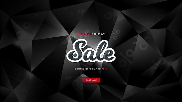 Zwarte vrijdag verkoop. realistische achtergrond diamant veelhoek. zwarte vrijdag banner. donkere achtergrondkop voor website.
