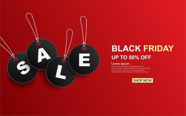Zwarte vrijdag verkoop tag cirkel op rode achtergrond.