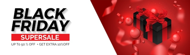 Zwarte vrijdag verkoop web banner lay-out ontwerpsjabloon. rood en wit ballon en geschenkdoosontwerp. Premium Vector