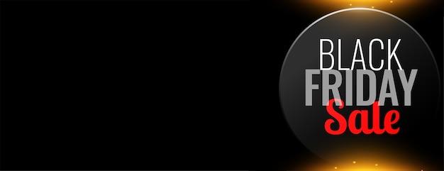 Zwarte vrijdag verkoop webbanner op zwarte achtergrond