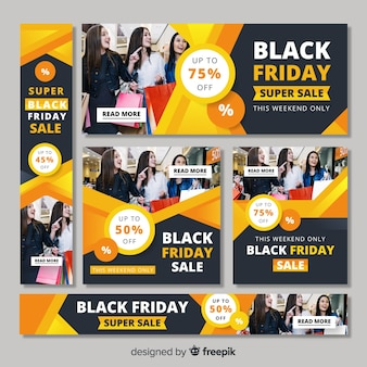 Zwarte vrijdag verkoop webbanners