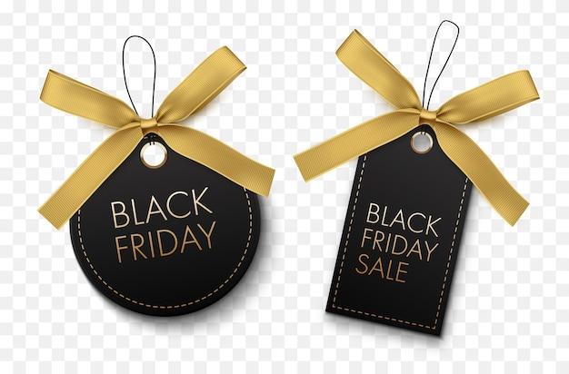 Zwarte vrijdag verkoop zwarte etiketten met gouden strik geïsoleerd op een witte achtergrond vector tags
