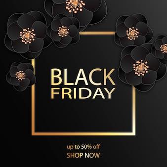 Zwarte vrijdag vierkante verkoop sjabloonontwerp spandoek.