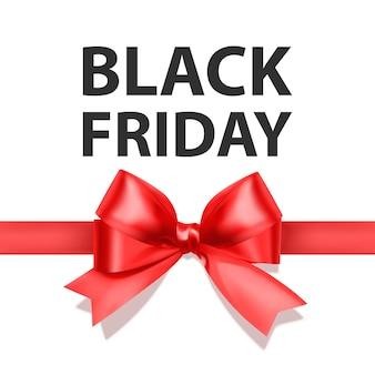 Zwarte vrijdag-wenskaart met een grote rode strik een sjabloon voor uw ontwerp een kerstkaart