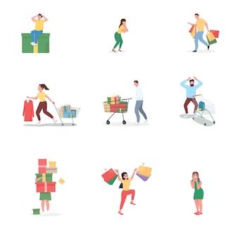 Zwarte vrijdag winkelen egale kleur anonieme tekenset