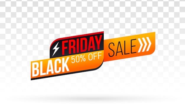 Zwarte vrijdag winkelen label illustratie
