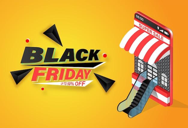 Zwarte vrijdag winkelen online banner op mobiele sjabloon