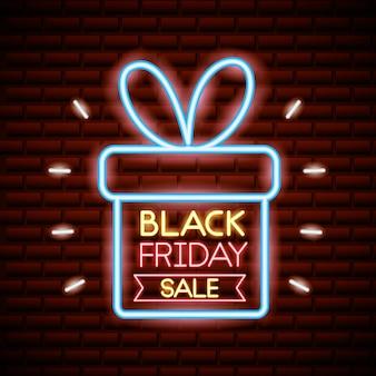 Zwarte vrijdag winkelen verkoop in neonlichten