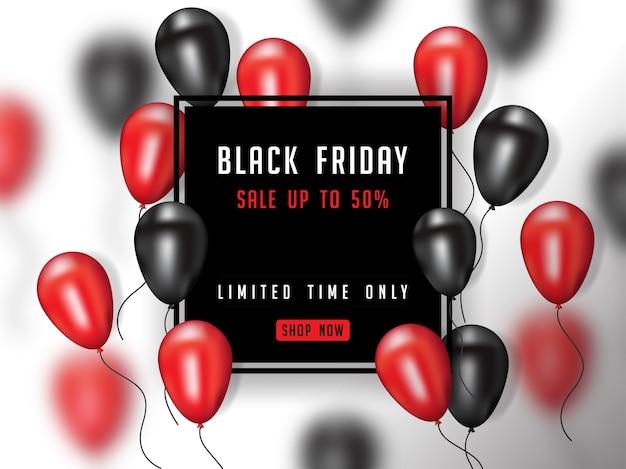 Zwarte vrijdagaffiche met realistische 3d ballon