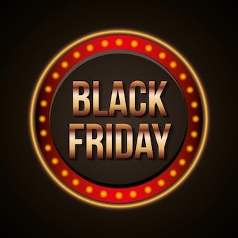 Zwarte vrijdagbanner met heldere aankondiging met lichten ronde vorm