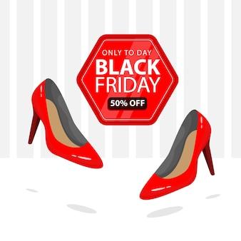 Zwarte vrijdagbanner met illustratie van vrouwelijke rode schoenen