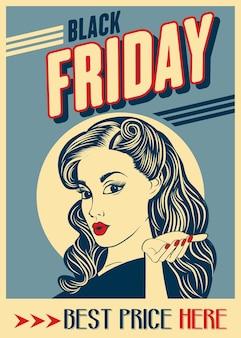 Zwarte vrijdagbanner met pin-upgirl. retro stijl.