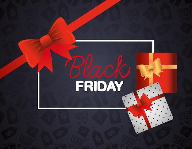 Zwarte vrijdagbanner met rode bowtie en geschenken
