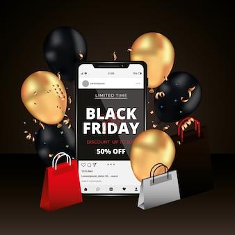 Zwarte vrijdagbanner met smartphone tussen ballonnen en tassen