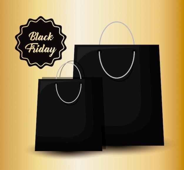 Zwarte vrijdagbanner met zak het winkelen en markering