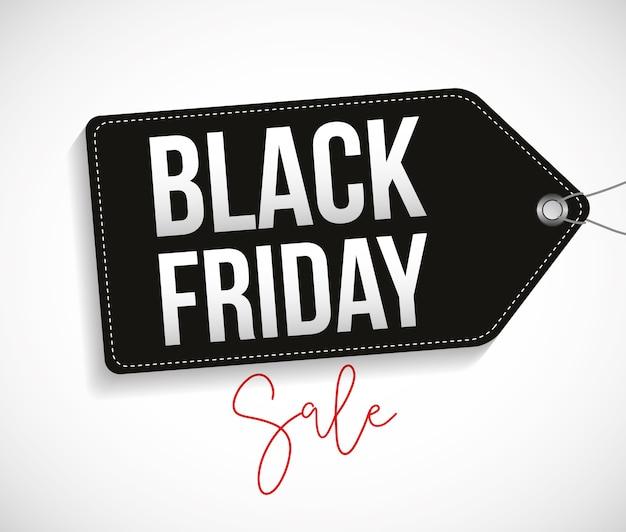 Zwarte vrijdagbanner met zwart etiket en tekst