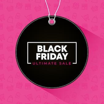 Zwarte vrijdagbanner met zwart etiket over roze achtergrond