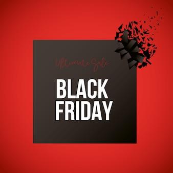 Zwarte vrijdagbanner met zwart vierkant