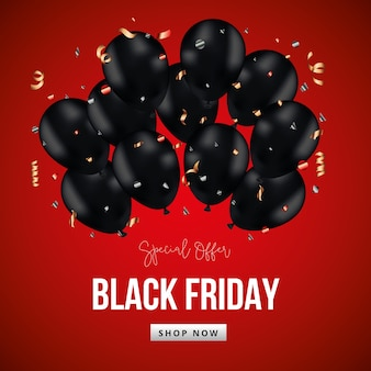 Zwarte vrijdagbanner met zwarte ballonnen en slingers