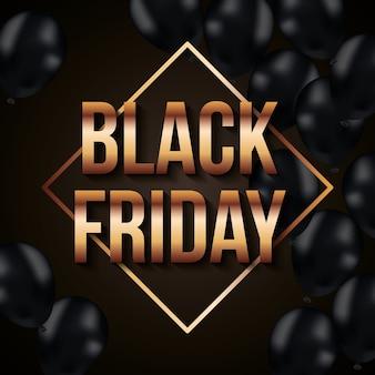 Zwarte vrijdagbanner met zwarte ballons en gouden ruit met tekst