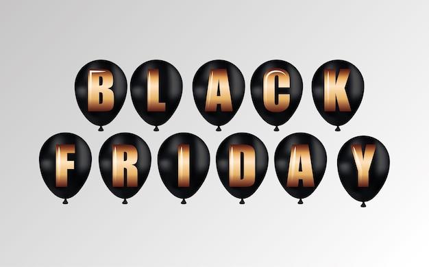 Zwarte vrijdagbanner met zwarte ballons met gouden tekst